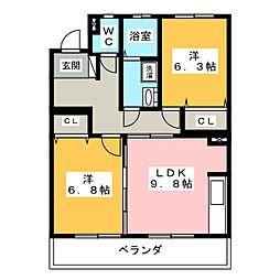 エデンII[4階]の間取り