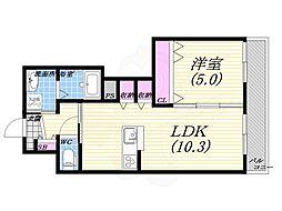 JR東海道・山陽本線 西宮駅 徒歩10分の賃貸マンション 3階1LDKの間取り