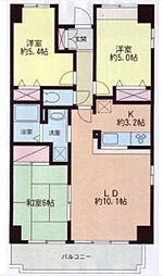 二俣川駅徒歩9分 パルティール本村3階[3階]の間取り