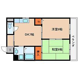 近鉄大阪線 桜井駅 徒歩6分の賃貸マンション 2階2DKの間取り