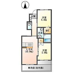 JR久大本線 筑後大石駅 徒歩5分の賃貸アパート 1階2LDKの間取り