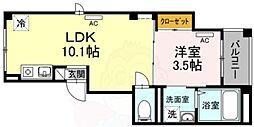 (仮)skye広尾 1階1LDKの間取り