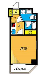 旗の台アパートメント 2階1Kの間取り
