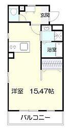 マリベールARASHIII 5階ワンルームの間取り