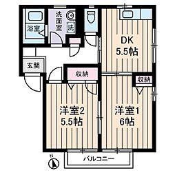 テラスシャルマンA棟[2階]の間取り