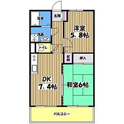 東京都調布市八雲台2丁目の賃貸マンションの間取り