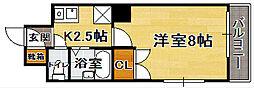 福岡県福岡市博多区千代2の賃貸マンションの間取り