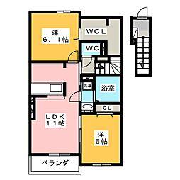 グランノワールA[2階]の間取り