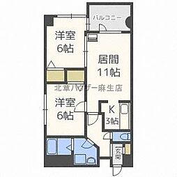 北海道札幌市北区新琴似七条2丁目の賃貸マンションの間取り
