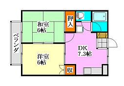 千葉県習志野市鷺沼2丁目の賃貸アパートの間取り