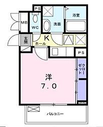 近鉄南大阪線 布忍駅 徒歩4分の賃貸アパート 2階1Kの間取り