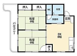 福岡県北九州市小倉南区城野2丁目の賃貸マンションの間取り