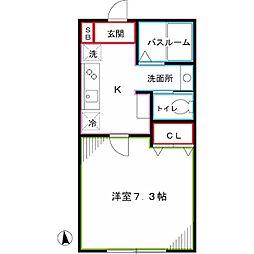 JR中央本線 東小金井駅 徒歩14分の賃貸アパート 1階1Kの間取り