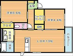 三洋タウン上香月 A棟[2階]の間取り