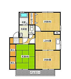 福岡県北九州市八幡西区御開3丁目の賃貸アパートの間取り