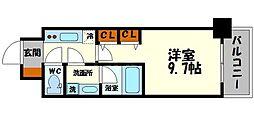 プレサンスNEO淀屋橋 4階1Kの間取り