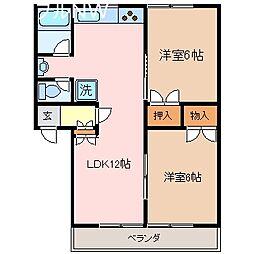 三重県松阪市鎌田町の賃貸マンションの間取り