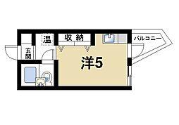 ナラ・レジデンス・モア 2階ワンルームの間取り