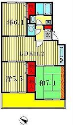 サンフィールド松戸[206号室]の間取り