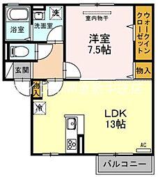 モデレート.K 2階1LDKの間取り
