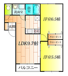 ベルリード藤井寺B棟[1階]の間取り