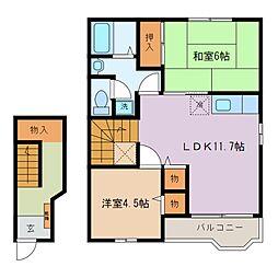 三重県四日市市西富田町の賃貸アパートの間取り