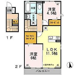 ルードハーネ[2階]の間取り