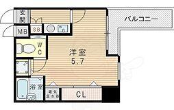 シティライフディナスティ新大阪 7階1Kの間取り
