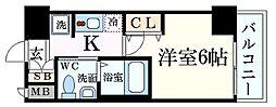 エステムコート新大阪VIIIレヴォリス 4階1Kの間取り