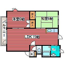 オブザーコート1-8B[2階]の間取り
