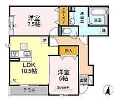 広島県福山市伊勢丘8丁目の賃貸アパートの間取り