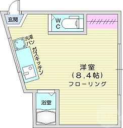JR仙山線 東北福祉大前駅 徒歩18分の賃貸アパート 2階ワンルームの間取り