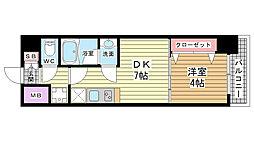 プレジオ神戸WEST[804号室]の間取り