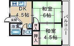 西村マンション[303号室]の間取り
