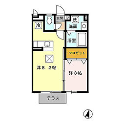 福岡県北九州市小倉北区日明3丁目の賃貸アパートの間取り