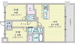 Osaka Metro御堂筋線 江坂駅 徒歩9分の賃貸マンション 3階2LDKの間取り