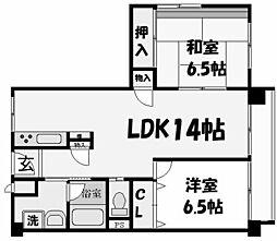 兵庫県西宮市松園町の賃貸マンションの間取り