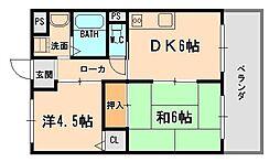 兵庫県伊丹市森本6丁目の賃貸マンションの間取り