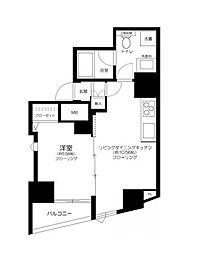 東京メトロ日比谷線 広尾駅 徒歩5分の賃貸マンション 11階1LDKの間取り