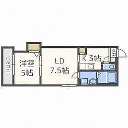 札幌市営南北線 北18条駅 徒歩5分の賃貸マンション 5階1LDKの間取り