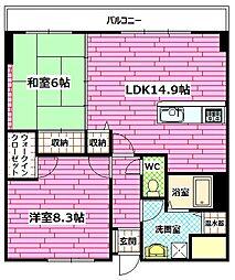 広島県広島市安佐南区中筋2丁目の賃貸マンションの間取り