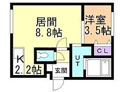 Y.T tower月寒東(ワイドット ティータワーツキサムヒ 2階1LDKの間取り