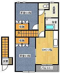 福岡県北九州市八幡西区市瀬2丁目の賃貸アパートの間取り