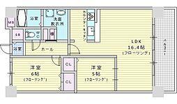 Welina江坂 8階2LDKの間取り