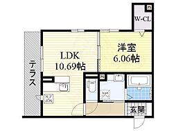 大阪モノレール本線 少路駅 徒歩9分の賃貸アパート 1階1LDKの間取り