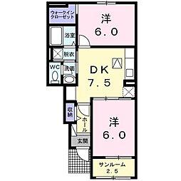 シエレトワールI[1階]の間取り