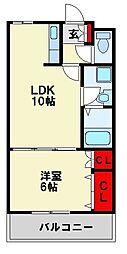 福岡県北九州市八幡西区陣原5丁目の賃貸アパートの間取り