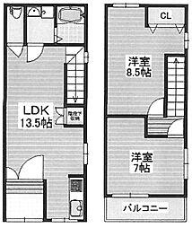 [テラスハウス] 大阪府堺市西区浜寺石津町中3丁 の賃貸【/】の間取り