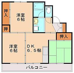 ビレッジハウス伊川1号棟[1階]の間取り