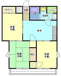 茨城県ひたちなか市西大島2丁目の賃貸マンションの間取り